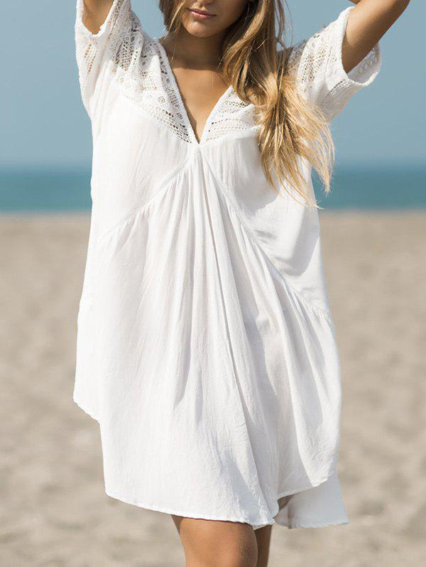 Cheap V Neck Openwork Beach Cover Up