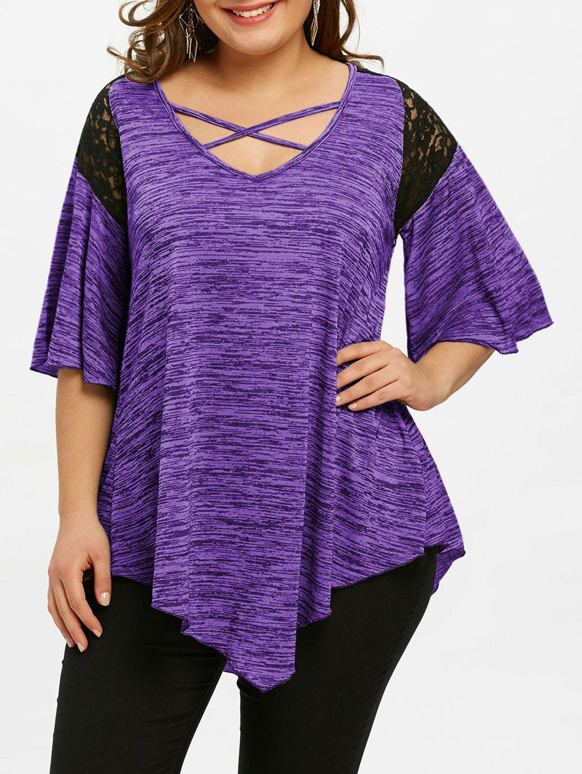 Affordable Plus Size Flare Sleeve Asymmetrical Tunic T-shirt