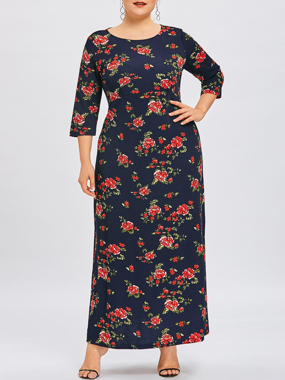 Outfit Flower Print Plus Size Maxi Dress
