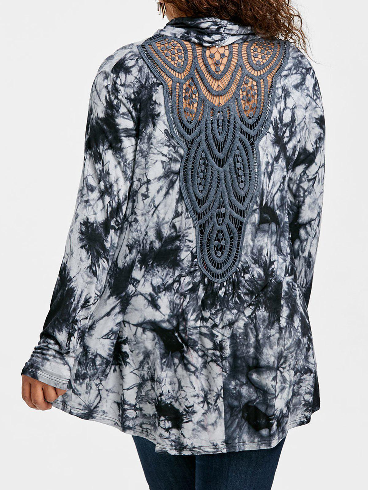 Store Plus Size Tie Dye Back Hollow Out Cardigan