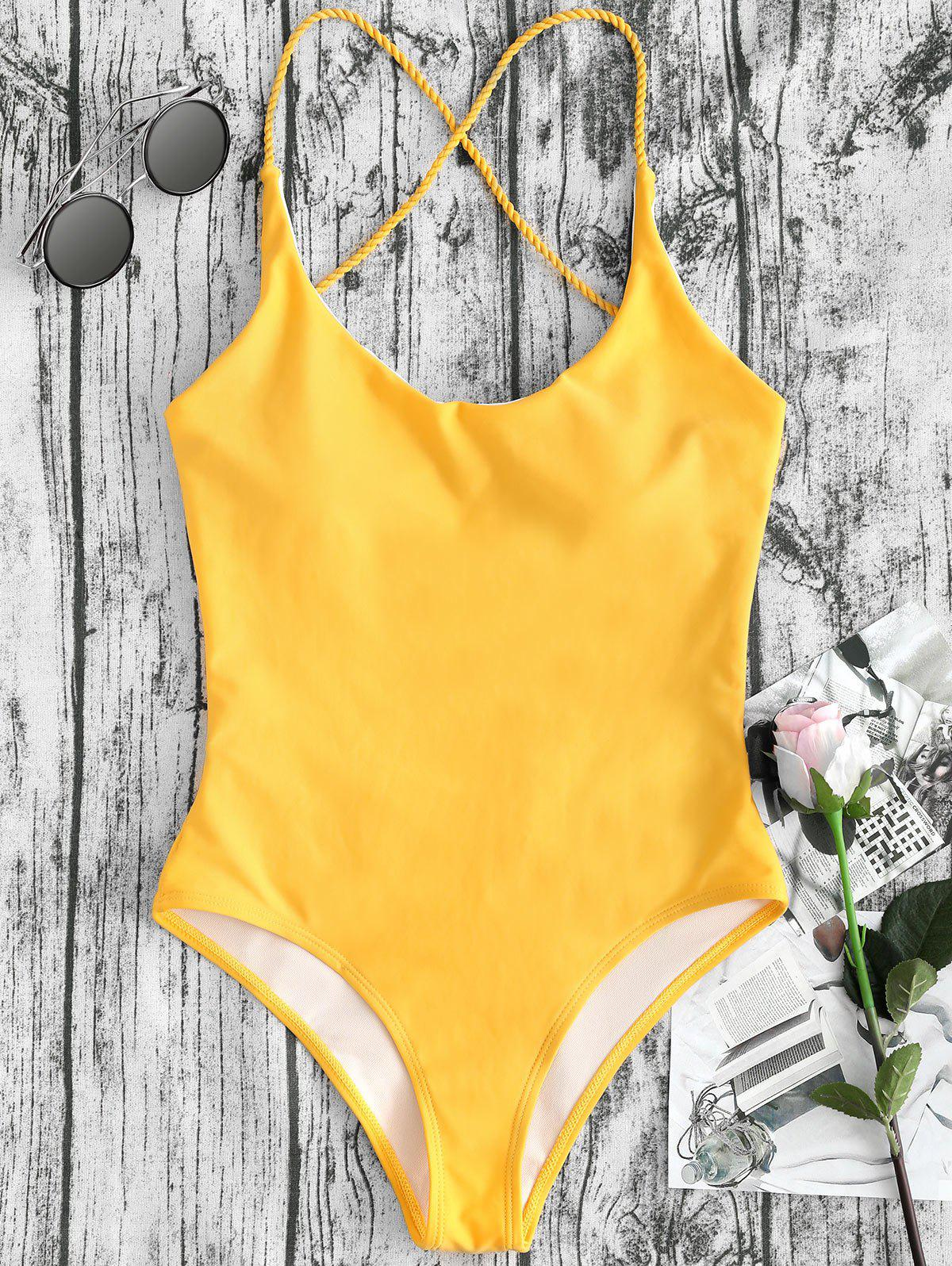 Trendy Cross Straps Backless One Piece Swimsuit