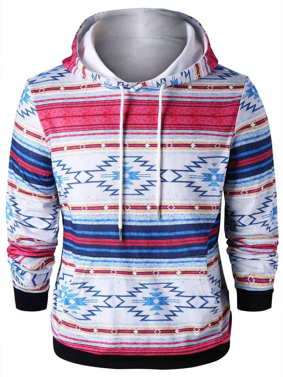 Outfit Ethnic Drawstring Neck Kangaroo Pocket Hoodie