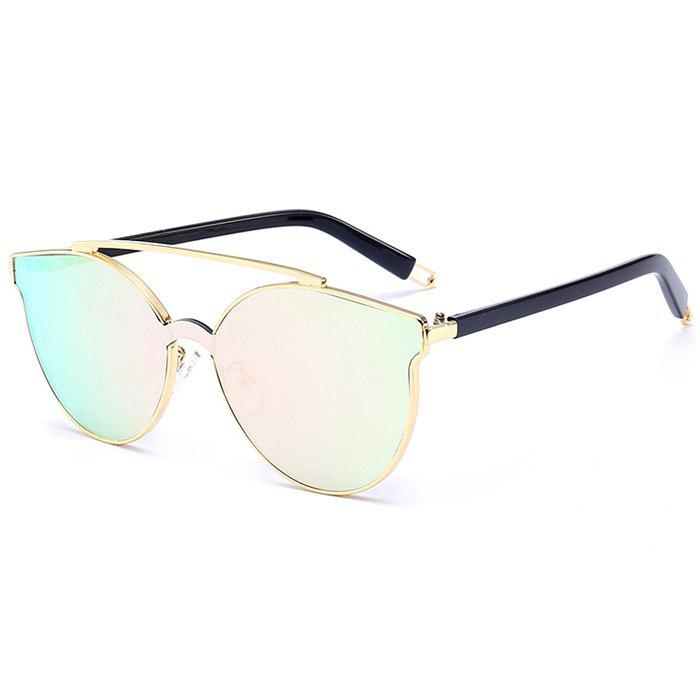Fancy Stylish Crossbar Decorated Metal Full Frame Cat Eye Sunglasses