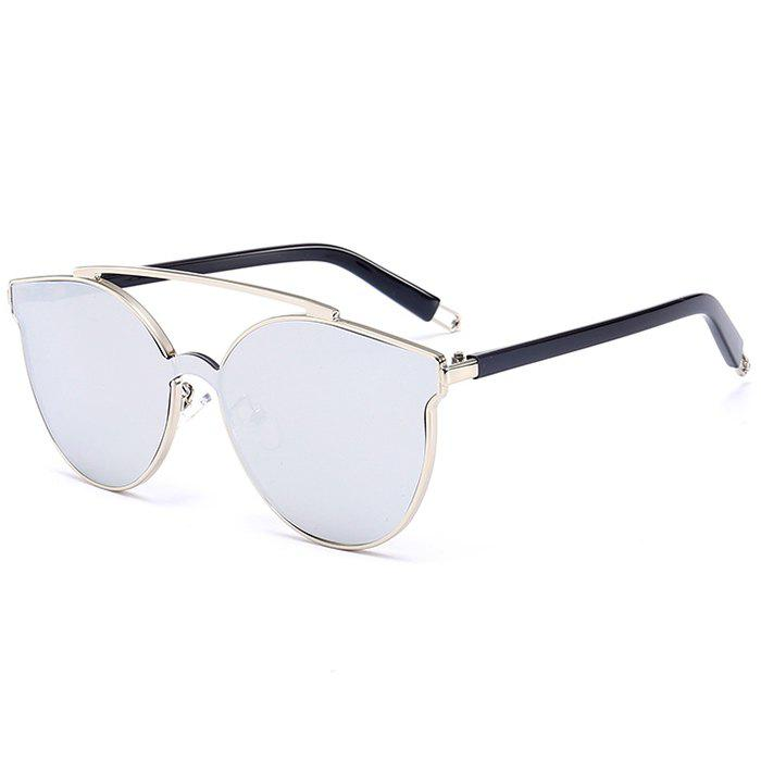 Discount Stylish Crossbar Decorated Metal Full Frame Cat Eye Sunglasses