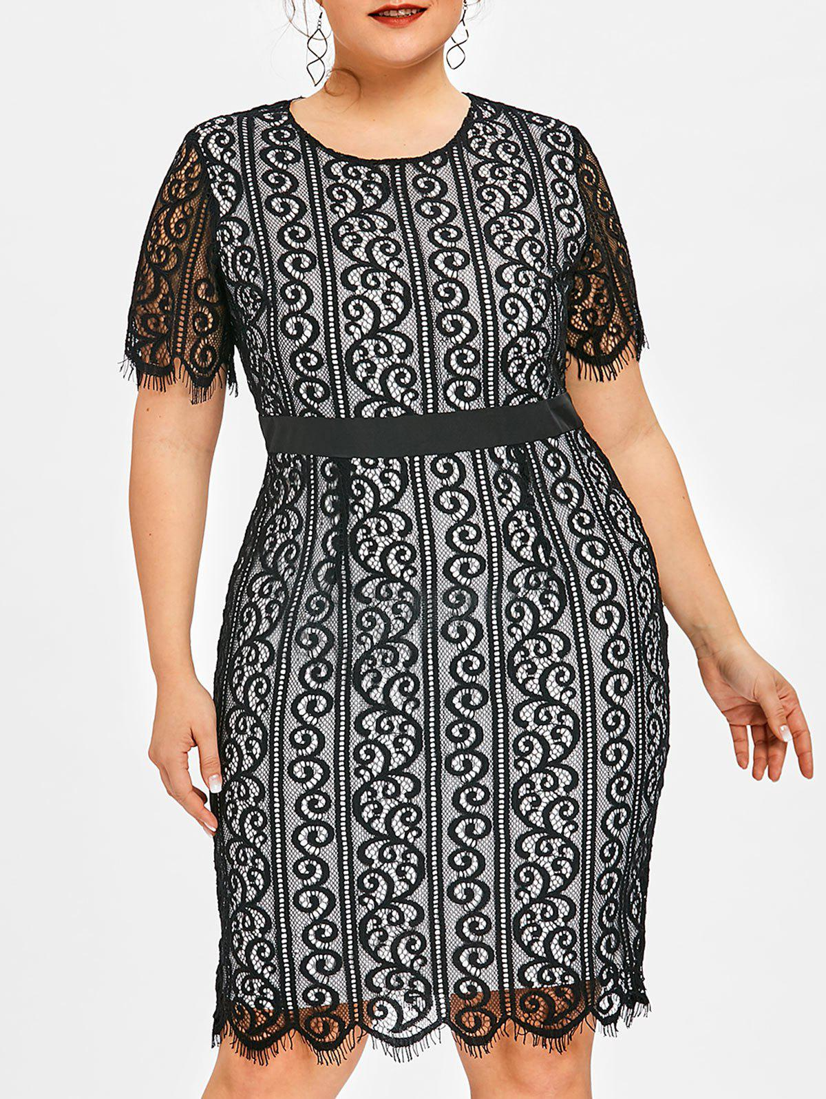 Fancy Plus Size Lace Party Bodycon Dress