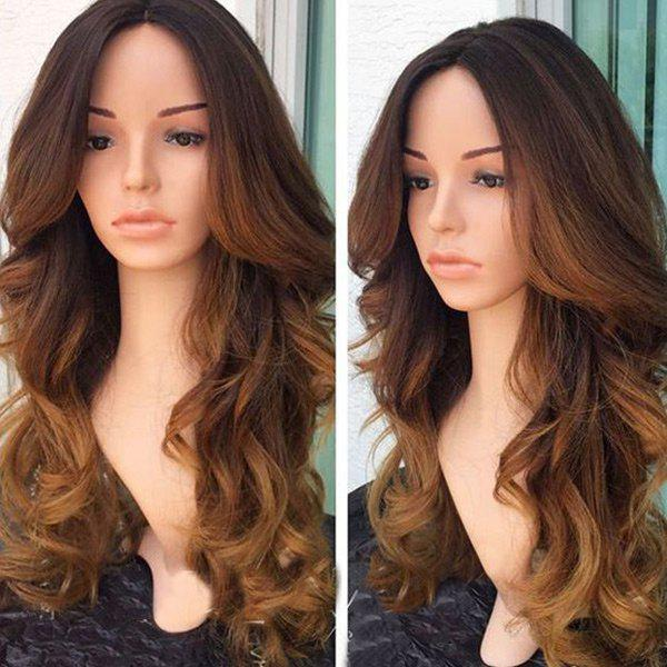 Trendy Long Middle Part Colormix Wavy Synthetic Wig