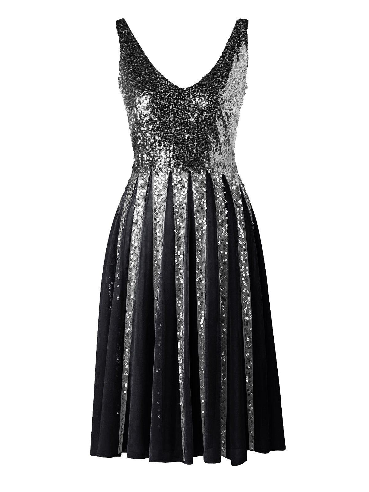 Shops Sleeveless Sequined Chiffon Dress