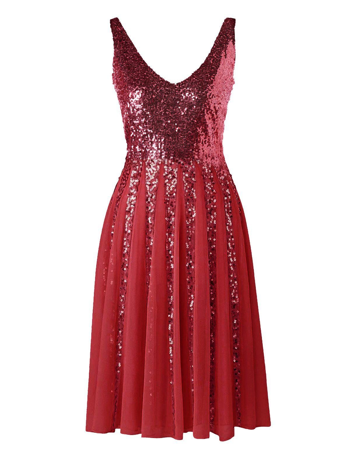 Unique Sleeveless Sequined Chiffon Dress