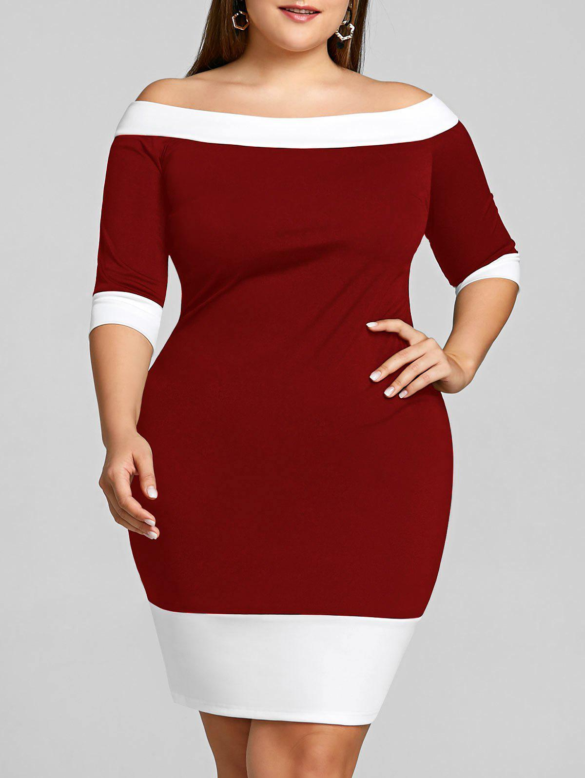 Affordable Color Trim Plus Size Off Shoulder Sheath Dress