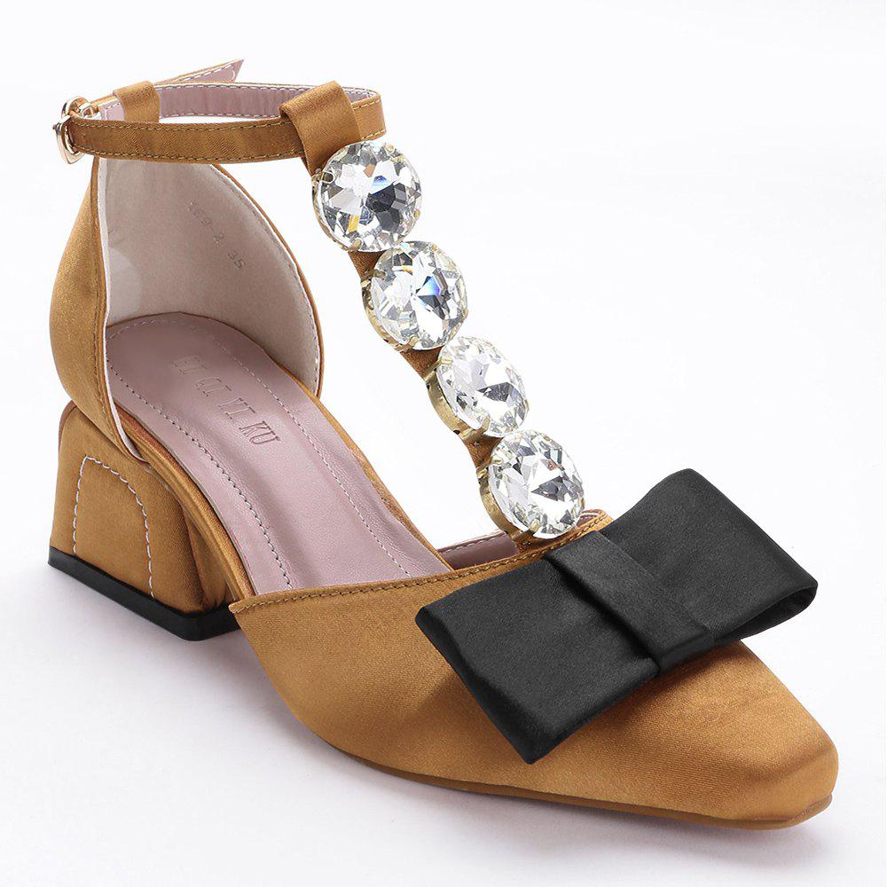 Affordable Crystal Bow Mid Heel Pumps
