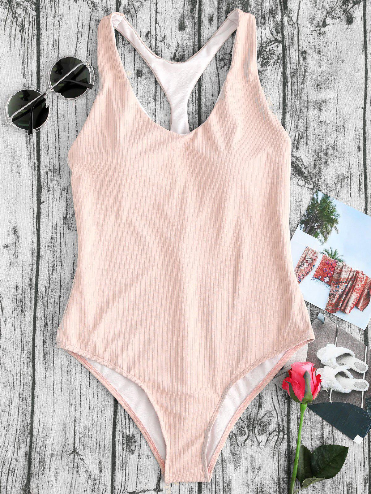 Store Ribbed Racerback High Leg One Piece Swimwear