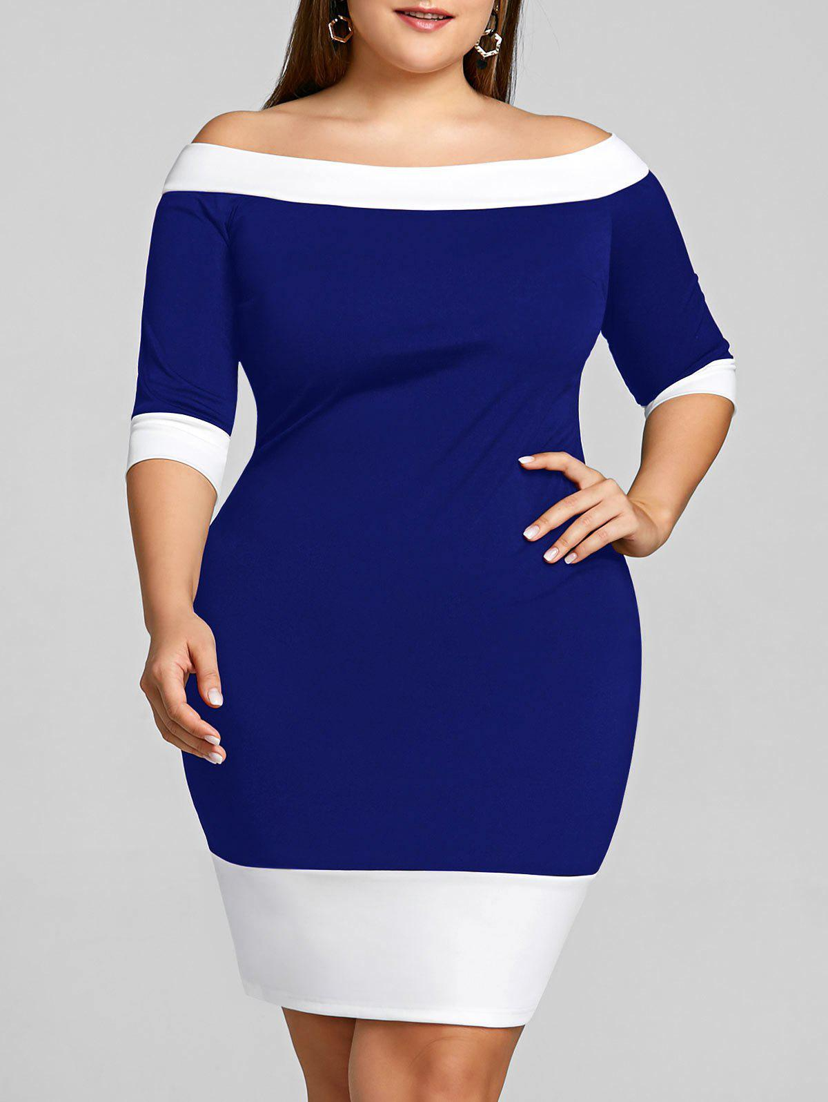 Sale Color Trim Plus Size Off Shoulder Sheath Dress