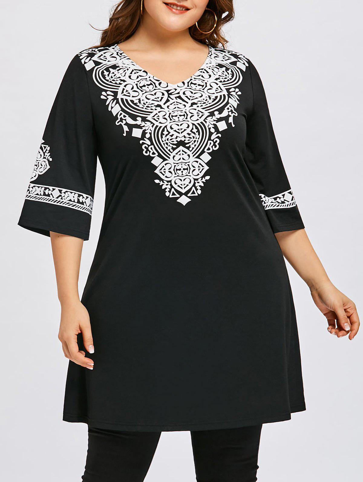 Affordable Plus Size Tribal Print V Neck Dress
