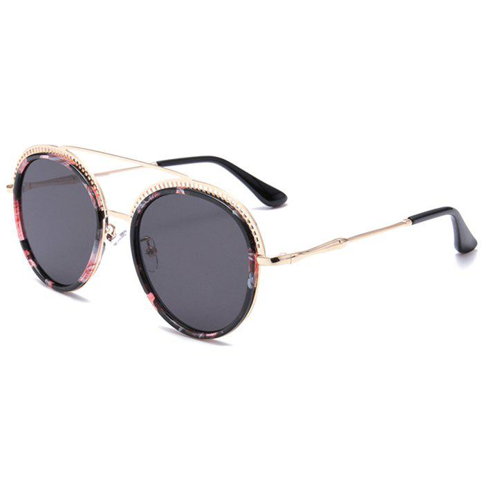 Outfits Unique Crossbar Hollow Out Pattern Decorated Round Sunglasses