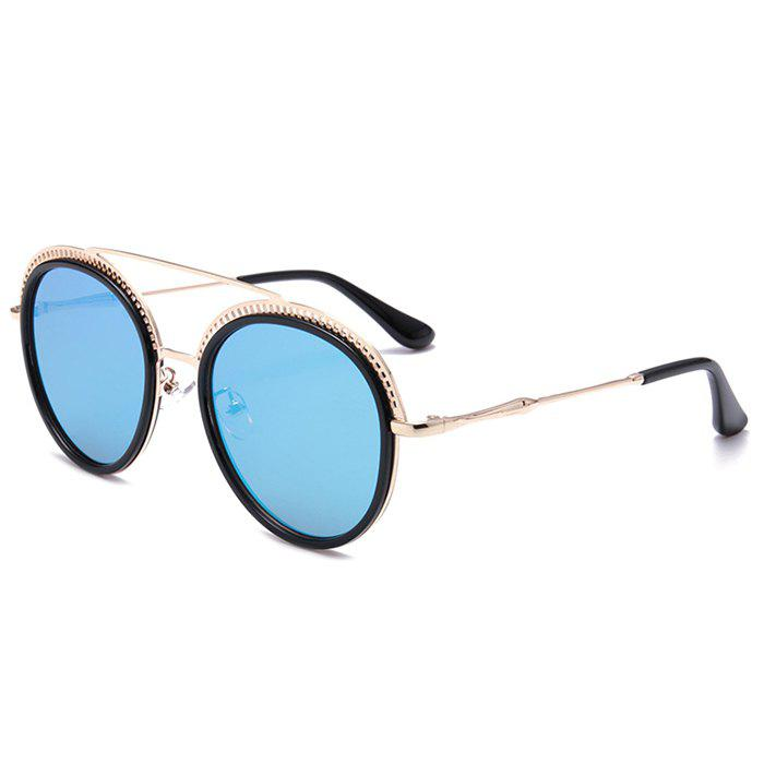 Hot Unique Crossbar Hollow Out Pattern Decorated Round Sunglasses