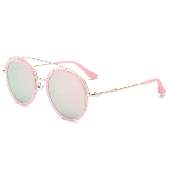 Store Unique Crossbar Hollow Out Pattern Decorated Round Sunglasses