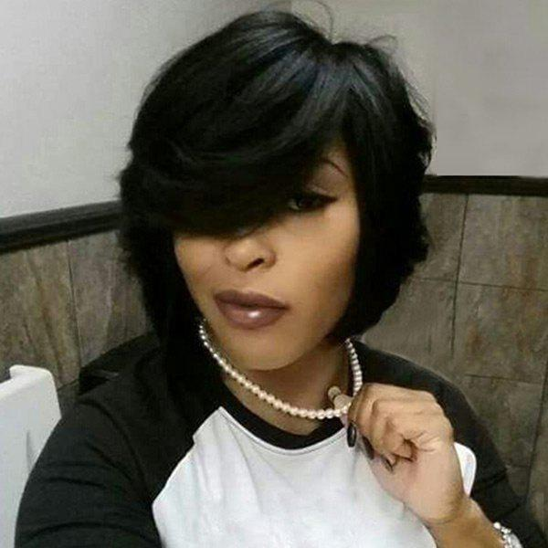 Image of Short Oblique Bang Slightly Curly Heat Resistant Synthetic Wig