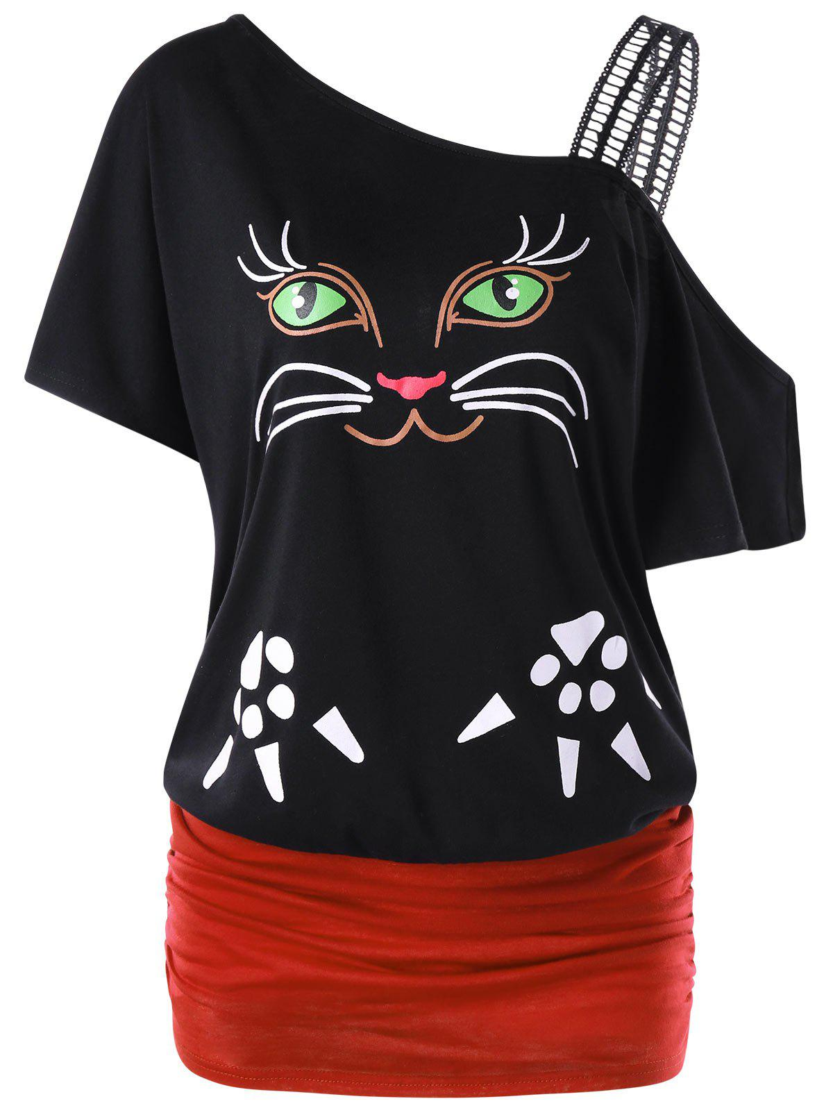 Outfits Cat Pattern Skew Collar Tunic T-shirt