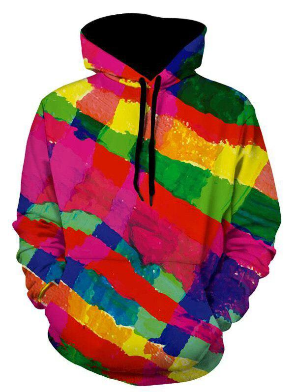 Sale Kangaroo Pocket Pullover Colorful Stripe Hoodie
