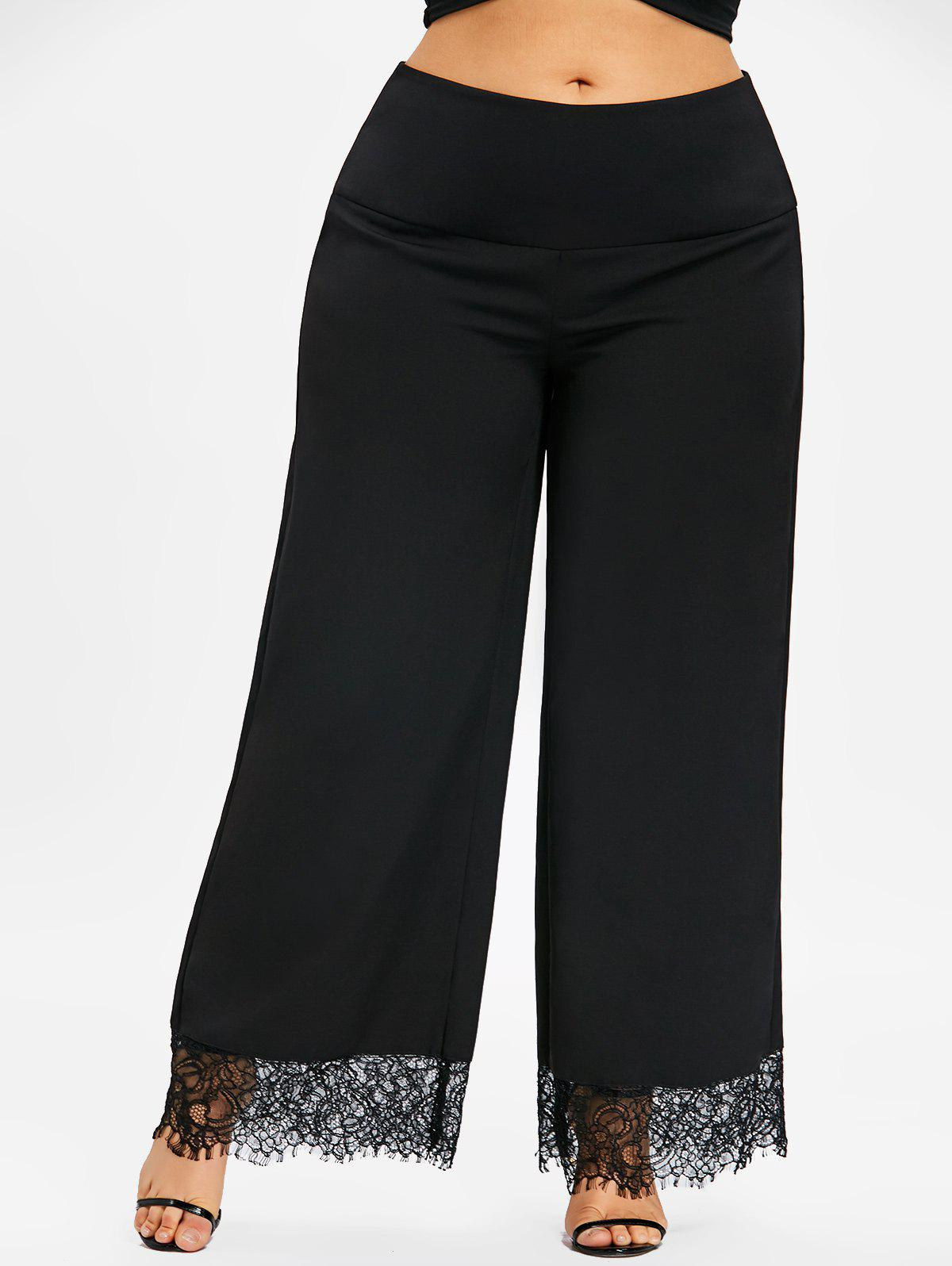 Outfits Plus Size Lace Panel Palazzo Pants