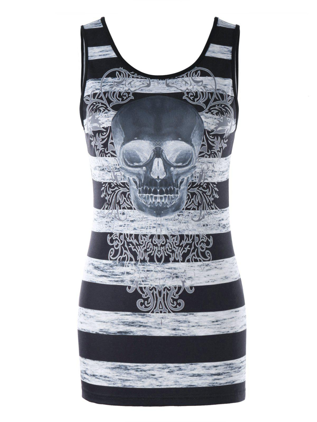 Fashion Skull and Striped Tunic Tank Top
