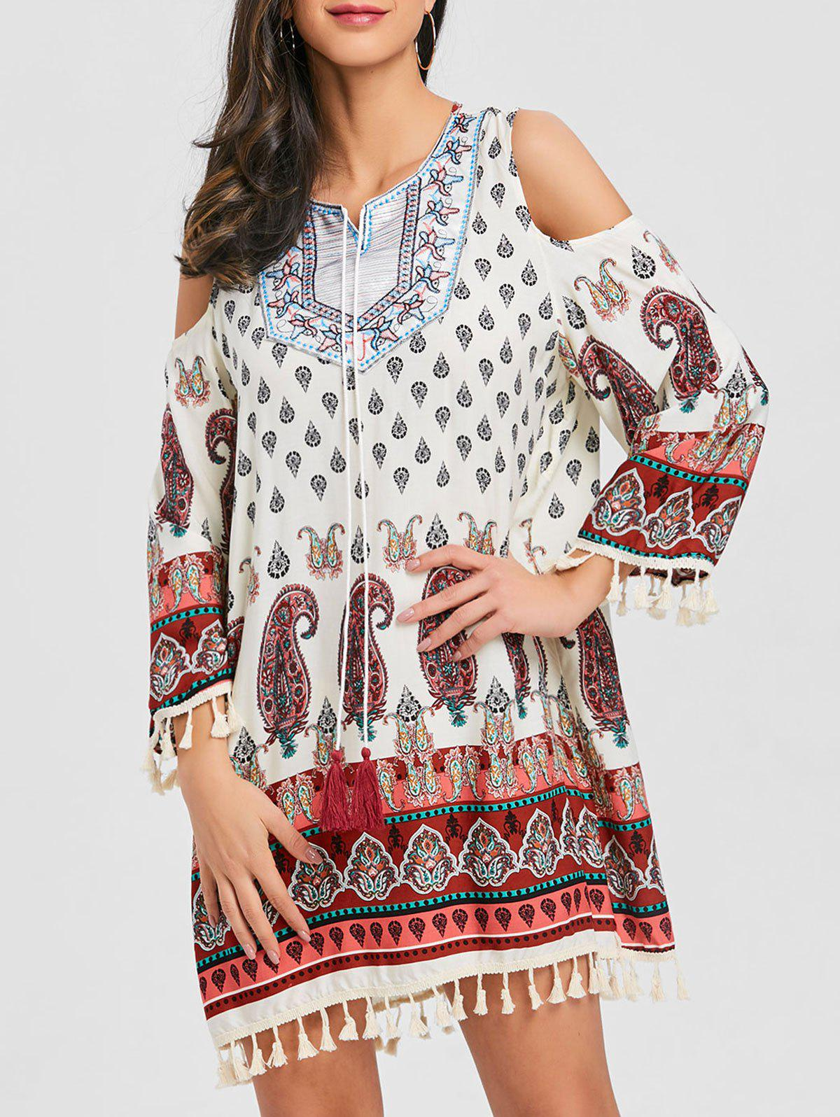 Outfit Open Shoulder Tassel Bohemian Print Dress