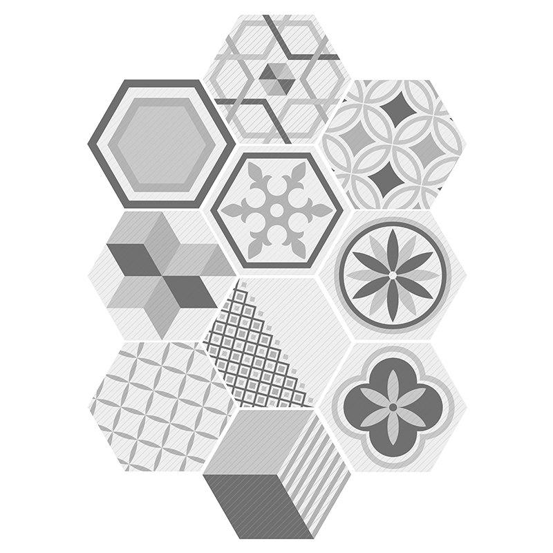 Online 10Pcs Hexagon Shaped Geometric Wall Tile Stickers