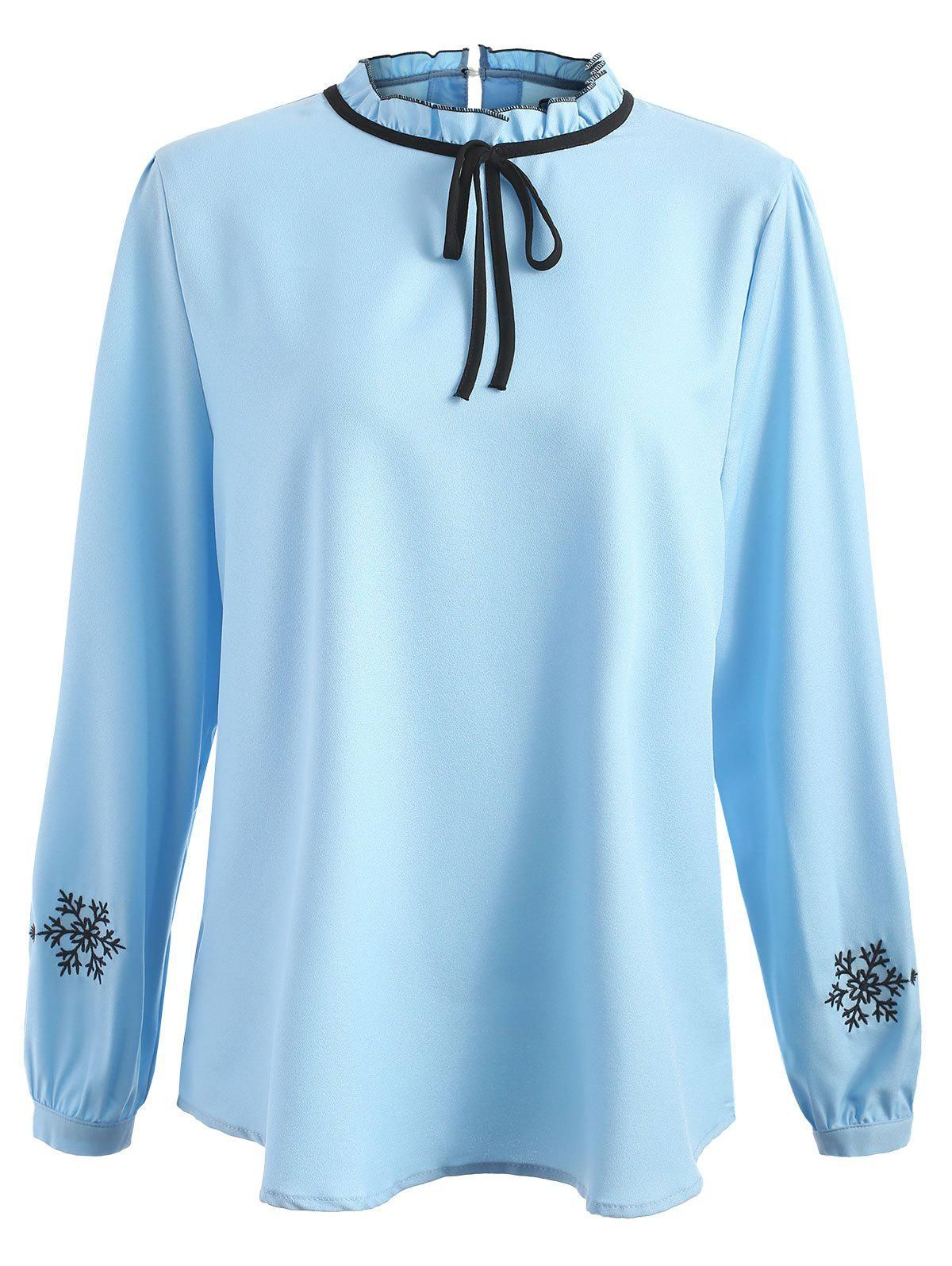 Trendy Plus Size Snowflake Embroidery Ruffle Trim Blouse