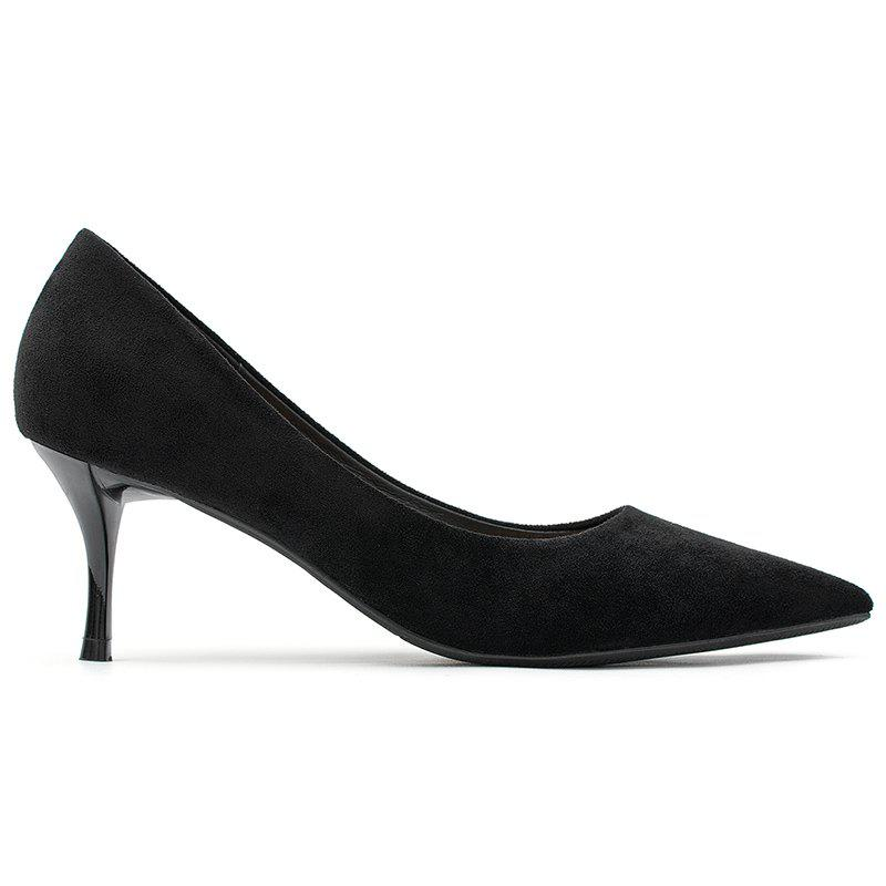 Affordable Faux Suede Pointed Toe Pumps