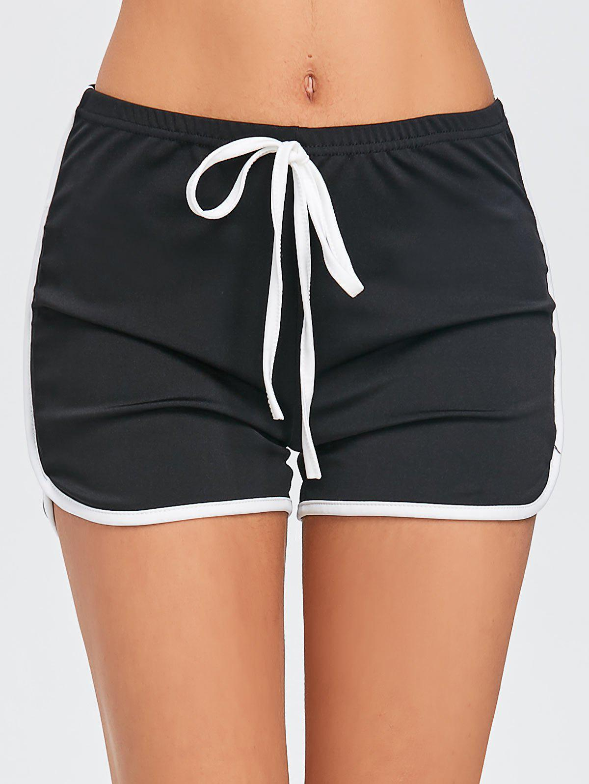 Trendy Drawstring Two Tone Workout Dolphin Shorts
