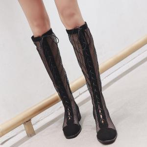 Lace Up Fishnet Knee High Boots -