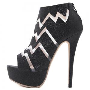 Zigzag Pattern Peep Toe Bootie Sandals -