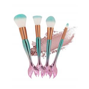Professional 4Pcs Mermaid Shaped Fiber Hair Makeup Brush Set -