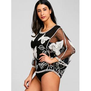 Batwing Butterfly Embroidery Mesh Cover Up -
