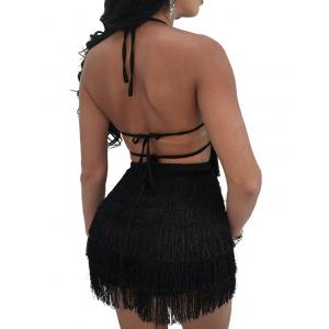 Backless Fringe Night Out Dress -