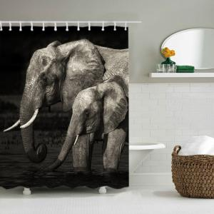 Elephants Print Waterproof Fabric Bathroom Shower Curtain -
