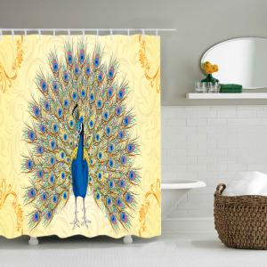 Peacock Print Waterproof Fabric Shower Curtain -