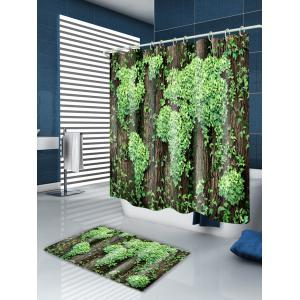 Leaves Cluster Print Waterproof Fabric Bath Shower Curtain -