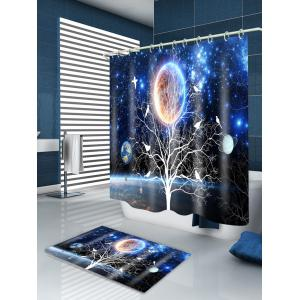 Solar System Tree Print Waterproof Fabric Shower Curtain -