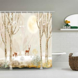 Elk on Snowfield Print Fabric Waterproof Shower Curtain -