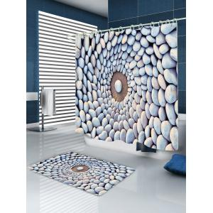 Layered Stone Circle Print Fabric Waterproof Shower Curtain -