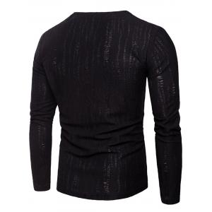 Zipper Design Long Sleeve Distressed T-Shirt -