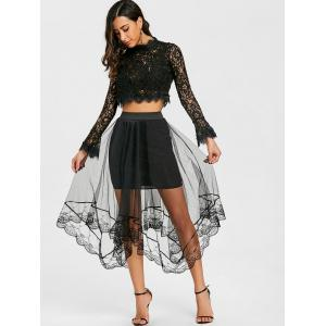 Lace Trimmed Asymmetric Tulle Skirt -
