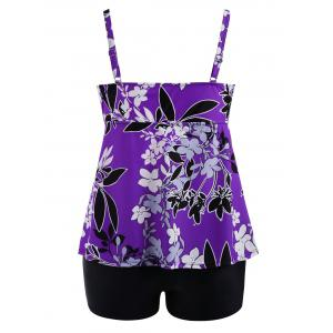 Padded High Waisted Floral Plus Size Tankini Set -