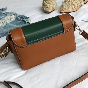 Faux Leather Whipstitch Chain Crossbody Bag -