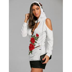 Embroidery Cut Out Ripped Cold Shoulder Hoodie -