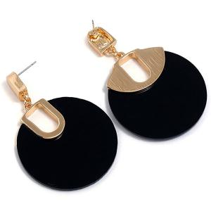 Retro Hollow Out Circle Shape Stud Drop Earrings -