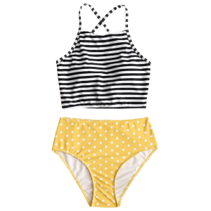 Striped Polka Dot High Waisted Bikini Set -