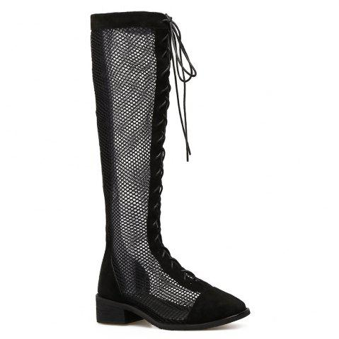 Fashion Lace Up Fishnet Knee High Boots