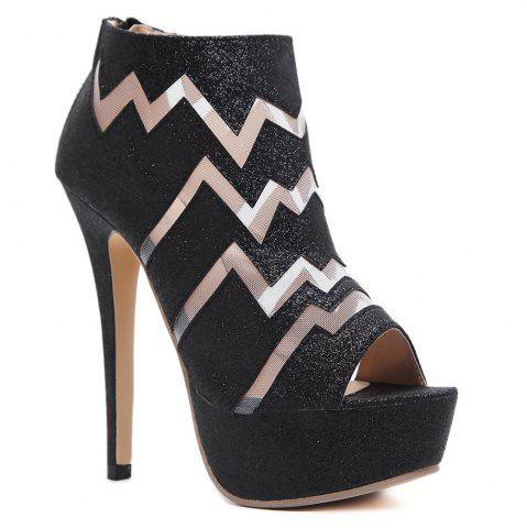 Affordable Zigzag Pattern Peep Toe Bootie Sandals